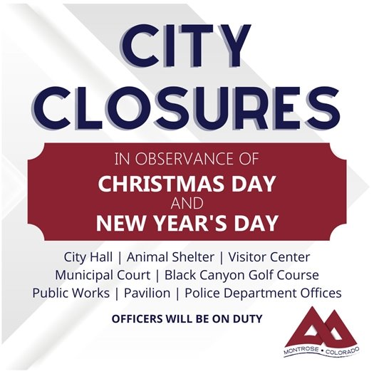 City To Close For Christmas, New Year's Holidays