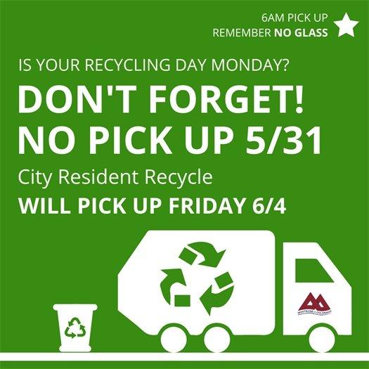 City Announces Memorial Day Closures