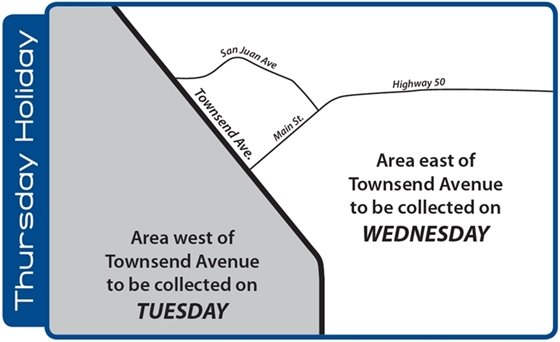 Thursday holiday trash collection routes map