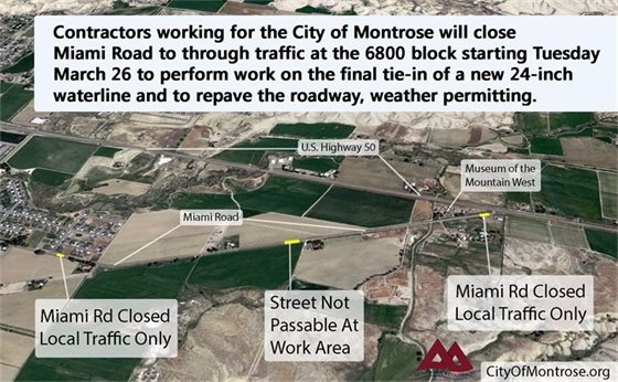 Miami Road to Close Tuesday For Waterline Work