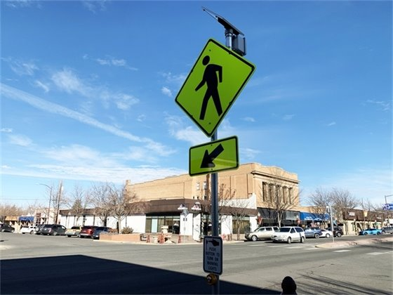 New Flashing Crosswalk Completed at Uncompahgre Avenue and Main Street